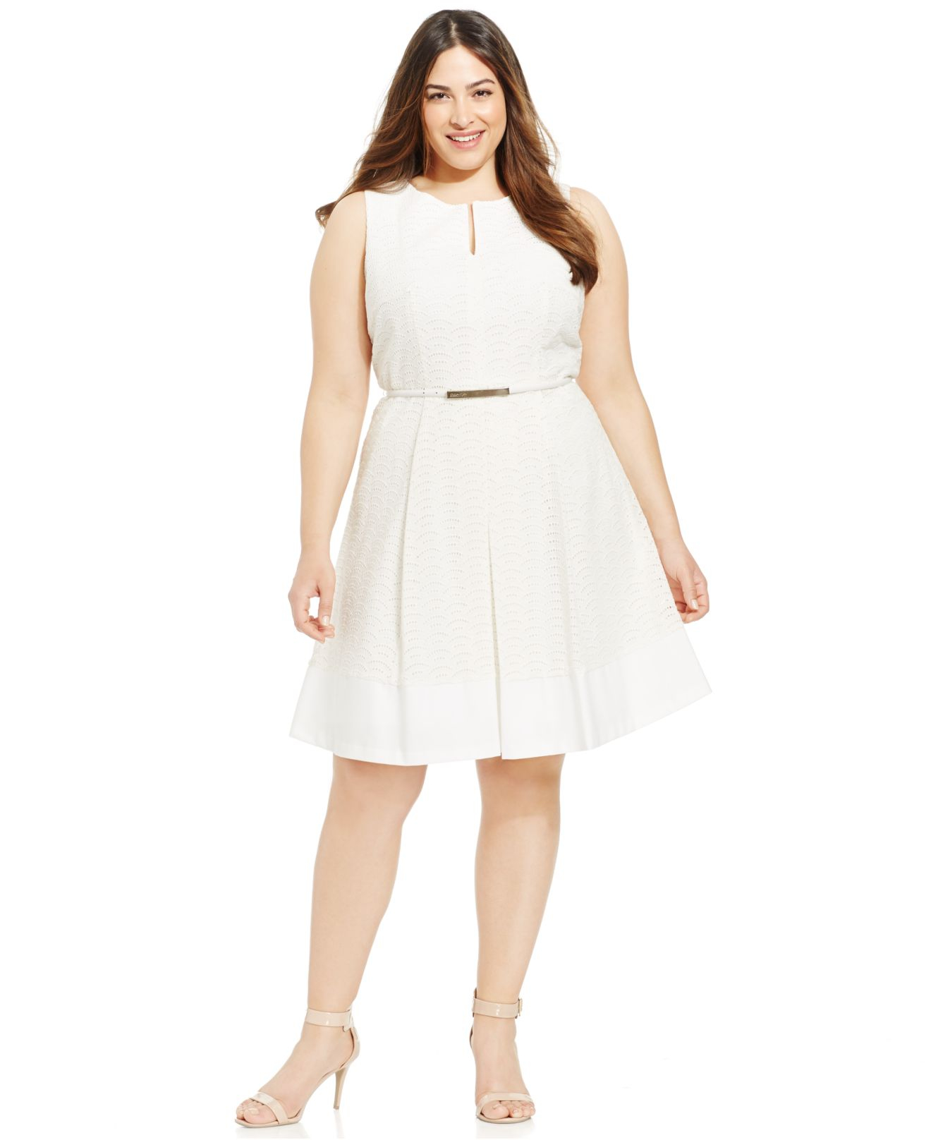 7ef2f8d53f Calvin Klein Plus Size Eyelet A-Line Belted Dress in White - Lyst