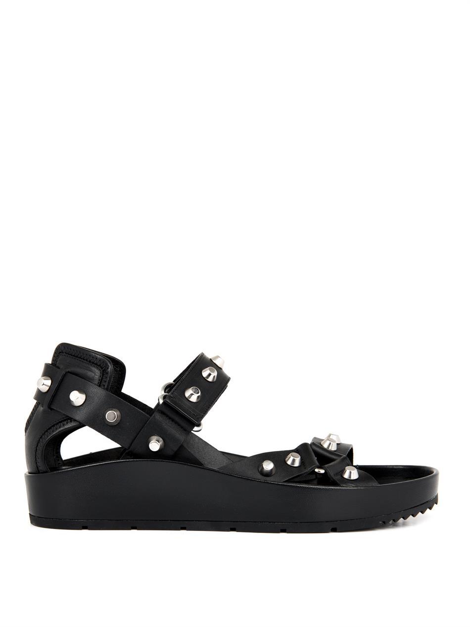 Balenciaga Arena Stud Leather Platform Sandals In Black Lyst