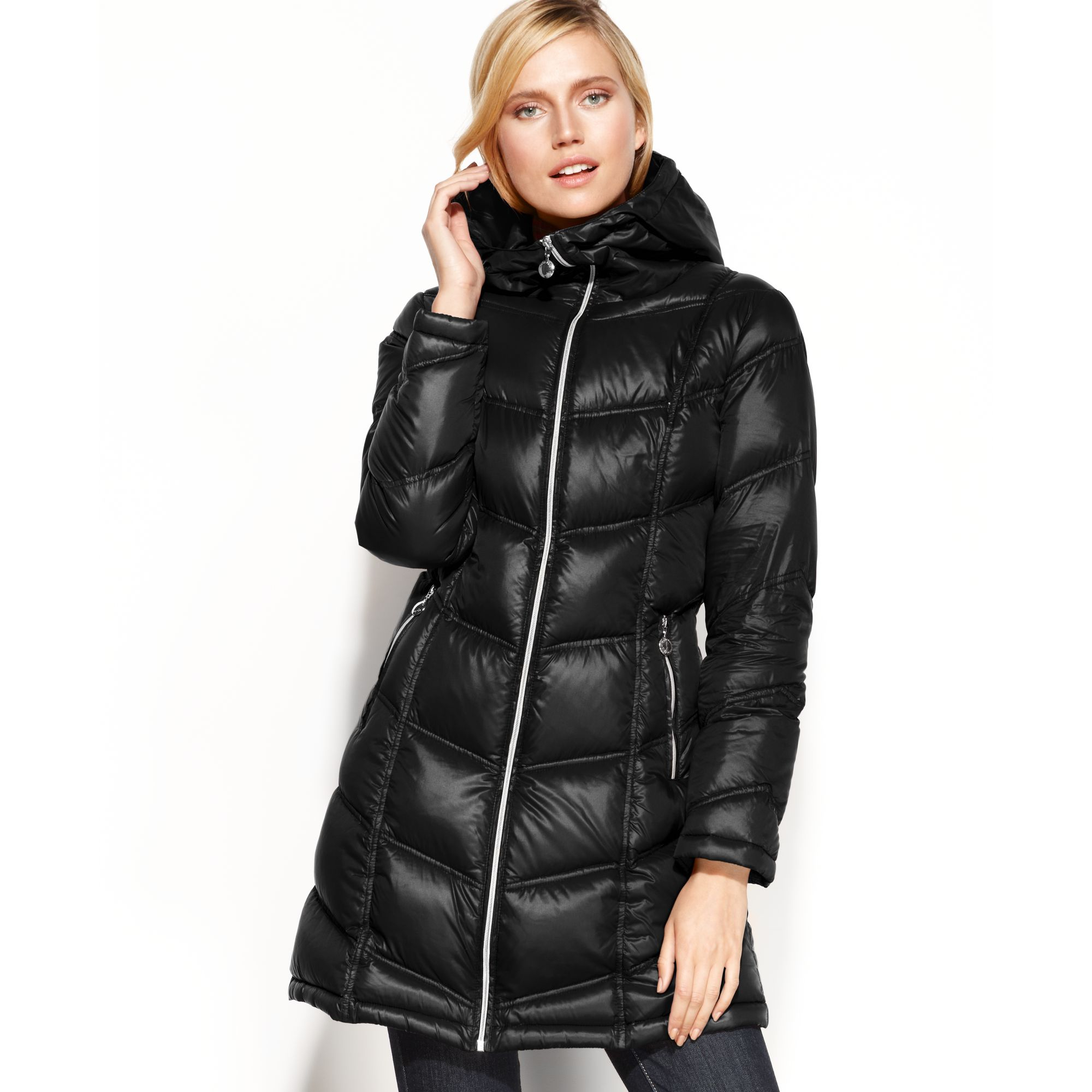 Lyst Calvin Klein Packable Hooded Quilted Puffer In Red