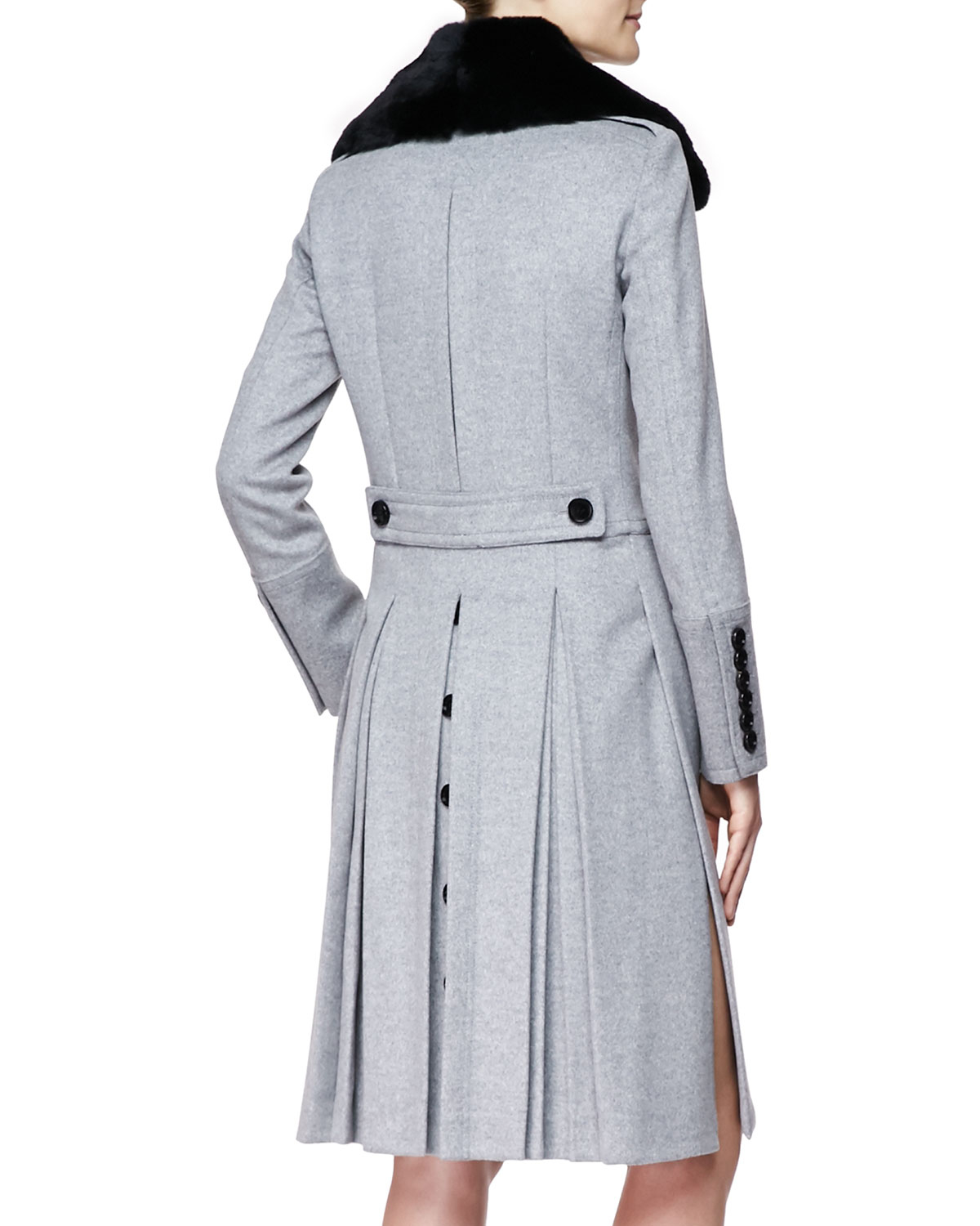 Burberry Long Doublebreasted Military Coat with Fur Collar in Gray ...