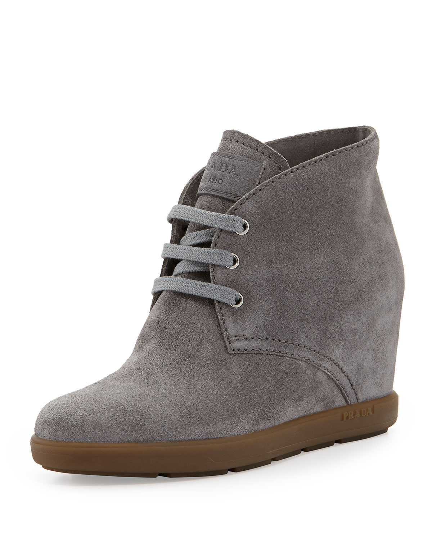 prada linea rossa suede wedge desert boot in gray ghiaia