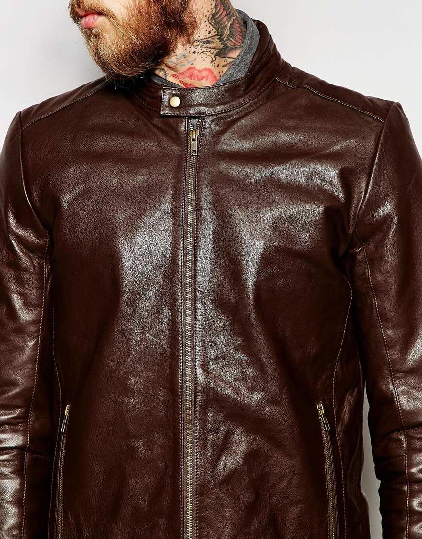 c337bc86911a1 ASOS Leather Racing Biker Jacket In Brown - Brown in Brown for Men ...