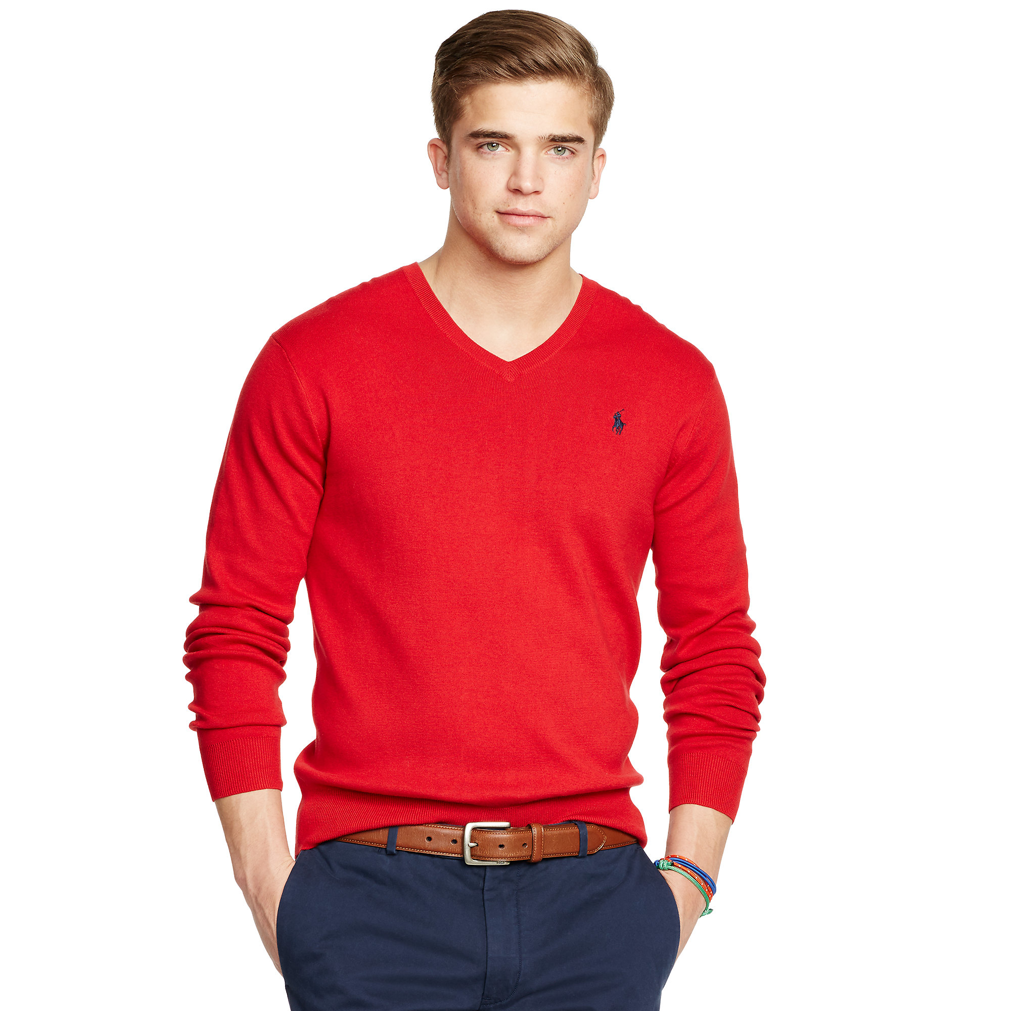 Polo ralph lauren Pima Cotton V-neck Sweater in Red | Lyst