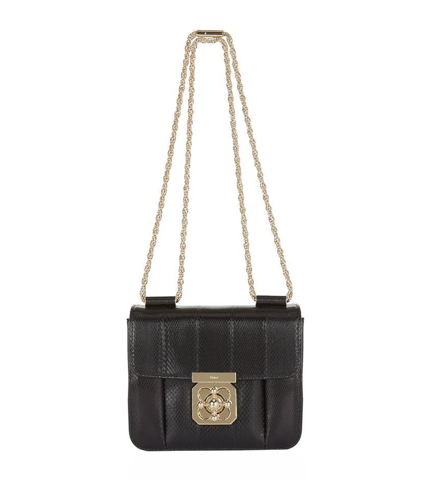 chloe metallic snakeskin elsie shoulder bag