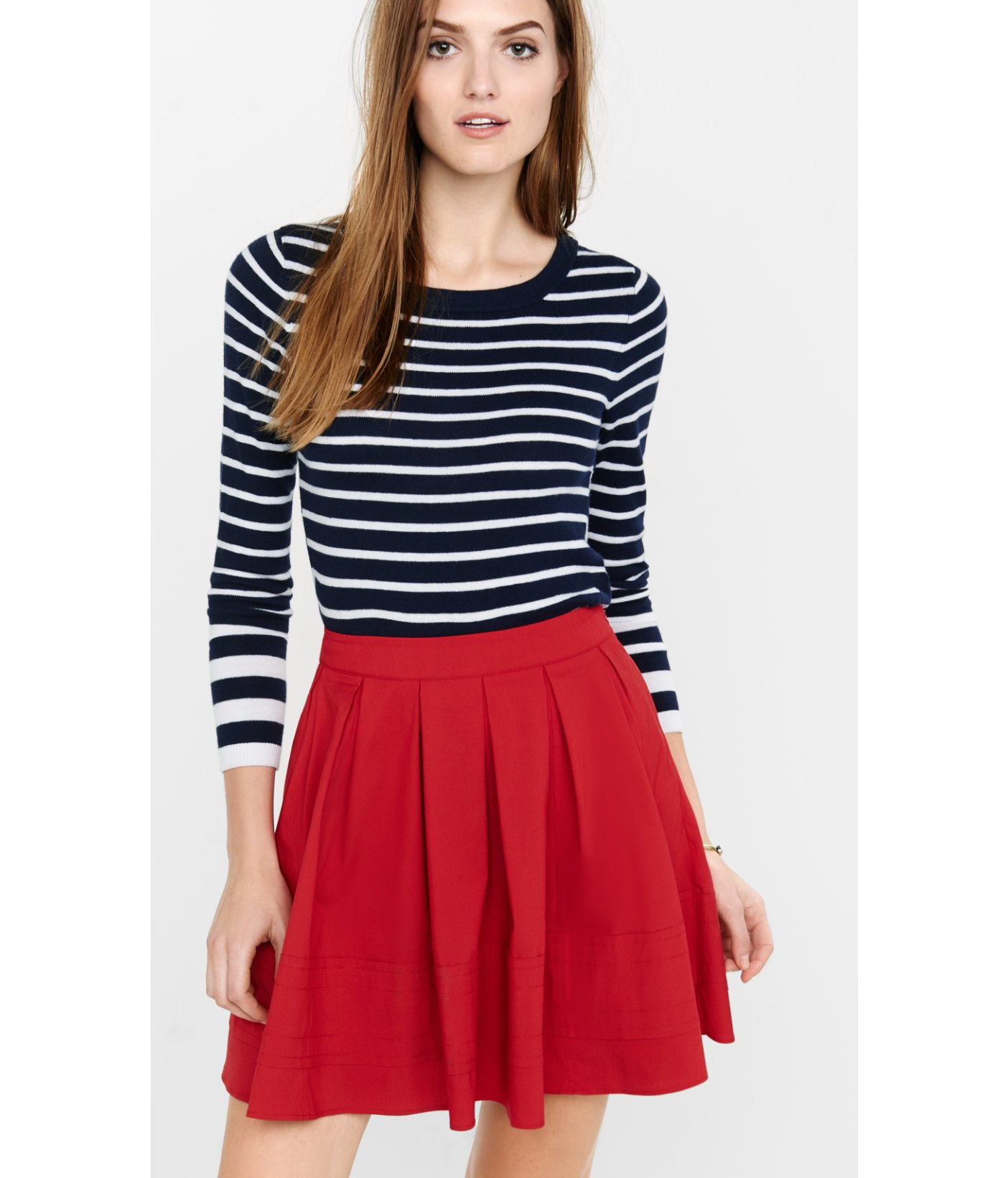 Express Red High Waisted Full Mini Skirt in Red   Lyst