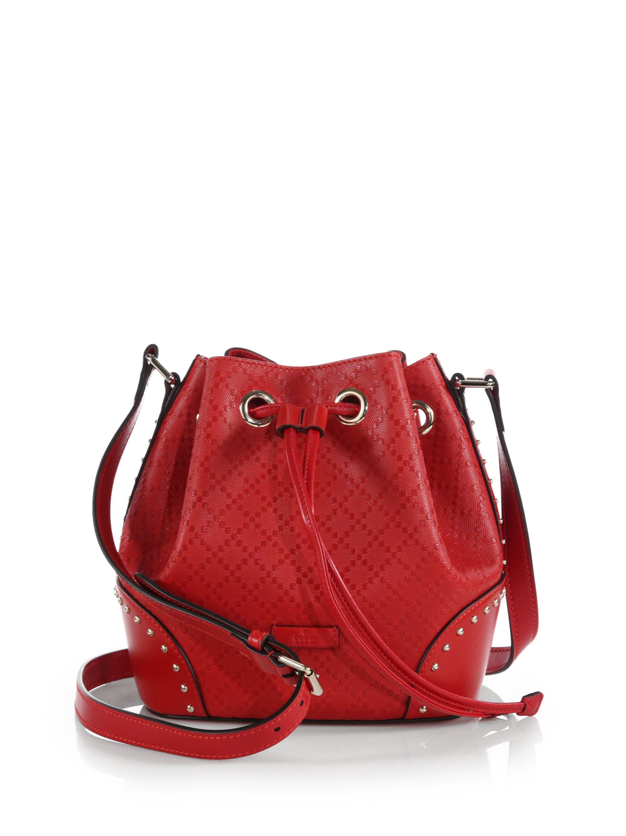 8d1277debe2 Lyst - Gucci Bright Diamante Leather Bucket Bag in Red