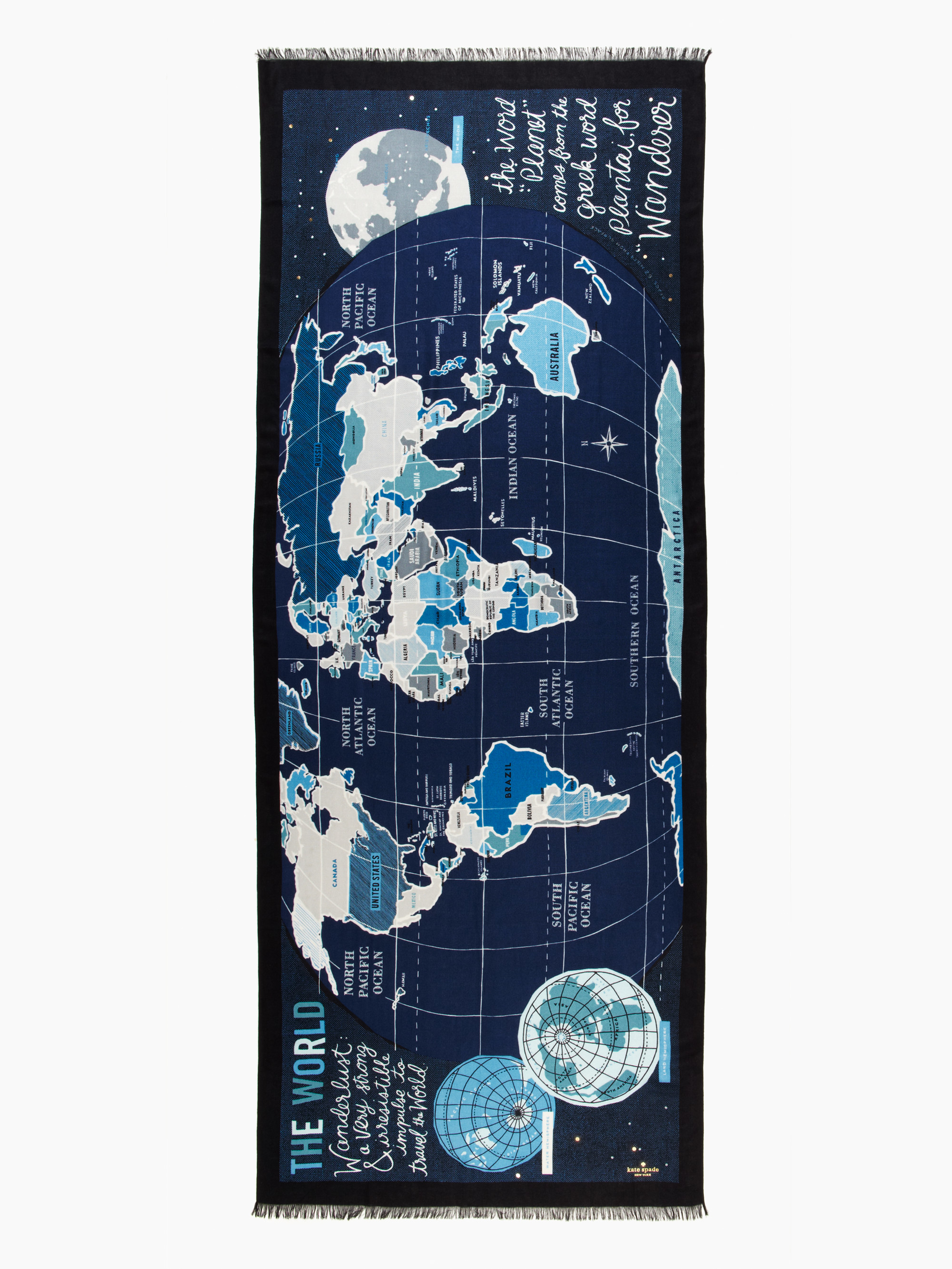 Lyst kate spade new york world map scarf in blue gallery sciox Image collections