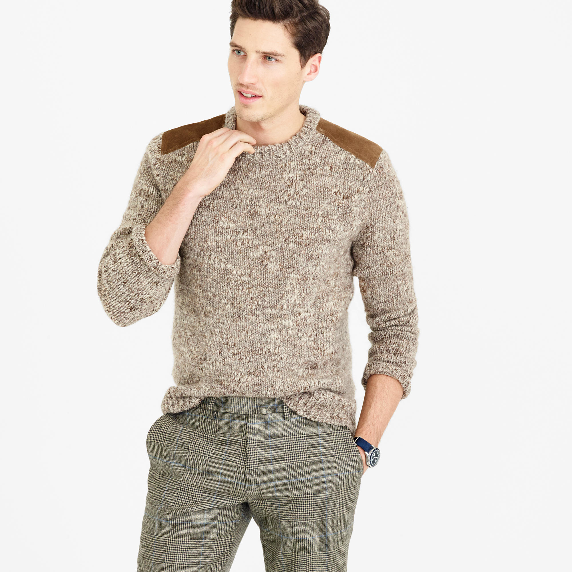 Wool alpaca shoulder patch sweater in brown for men for J crew mens outfits