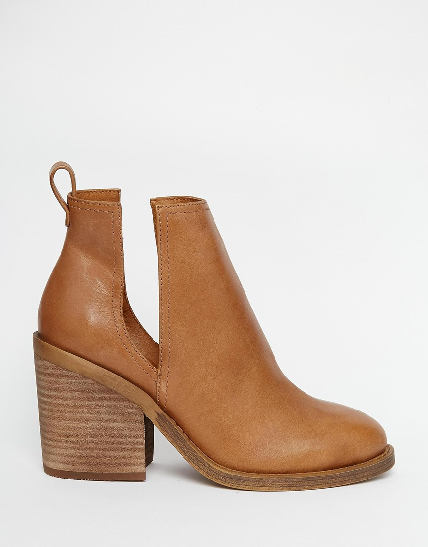 Windsor smith Sharni Tan Leather Cut Out Ankle Boots in Brown | Lyst
