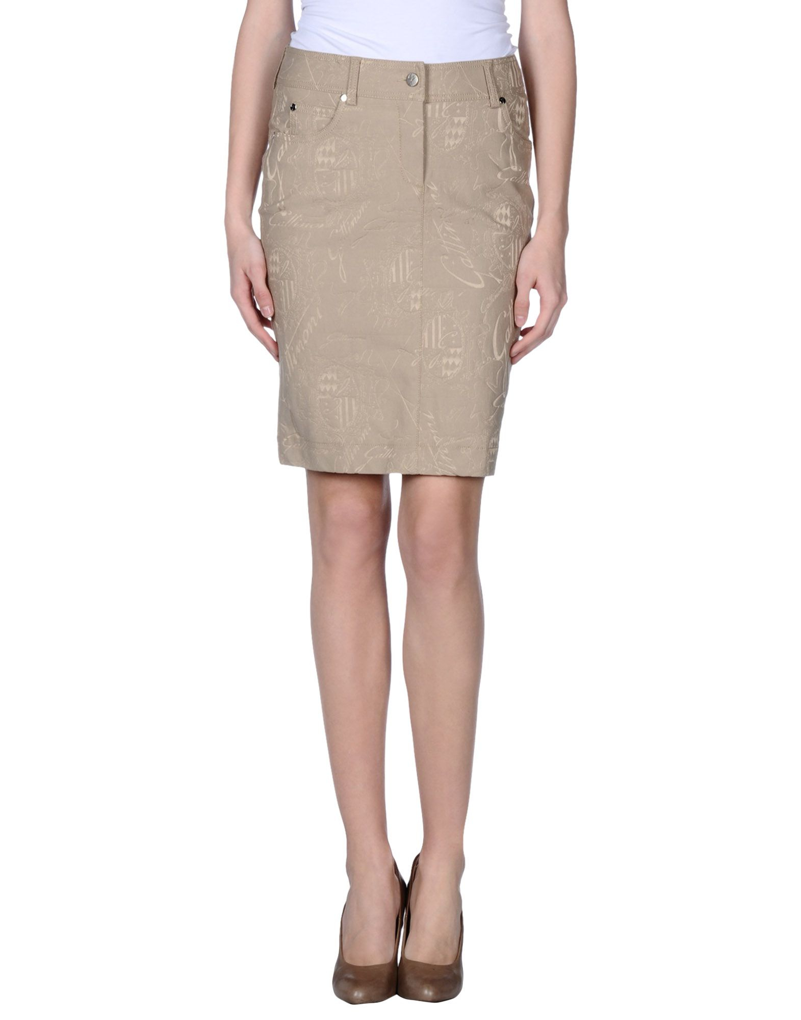 gattinoni knee length skirt in khaki