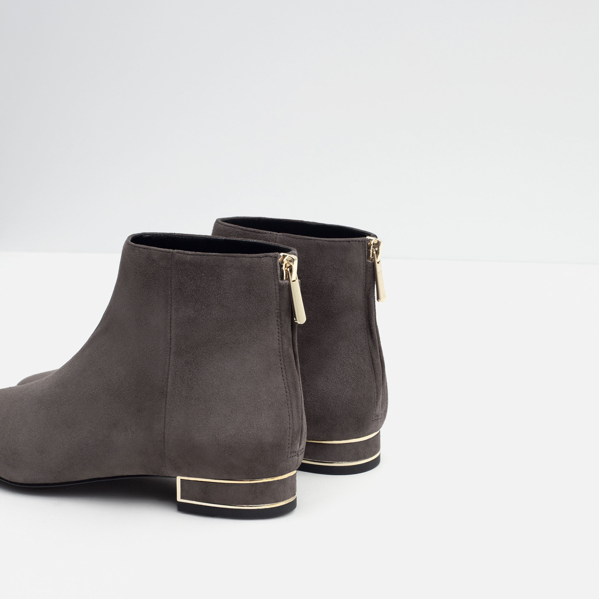 Zara Leather Ankle Boots With Metal Detail in Gray | Lyst