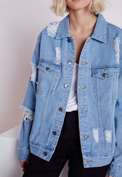 Missguided Extreme Rip Oversized Denim Jacket in Blue | Lyst