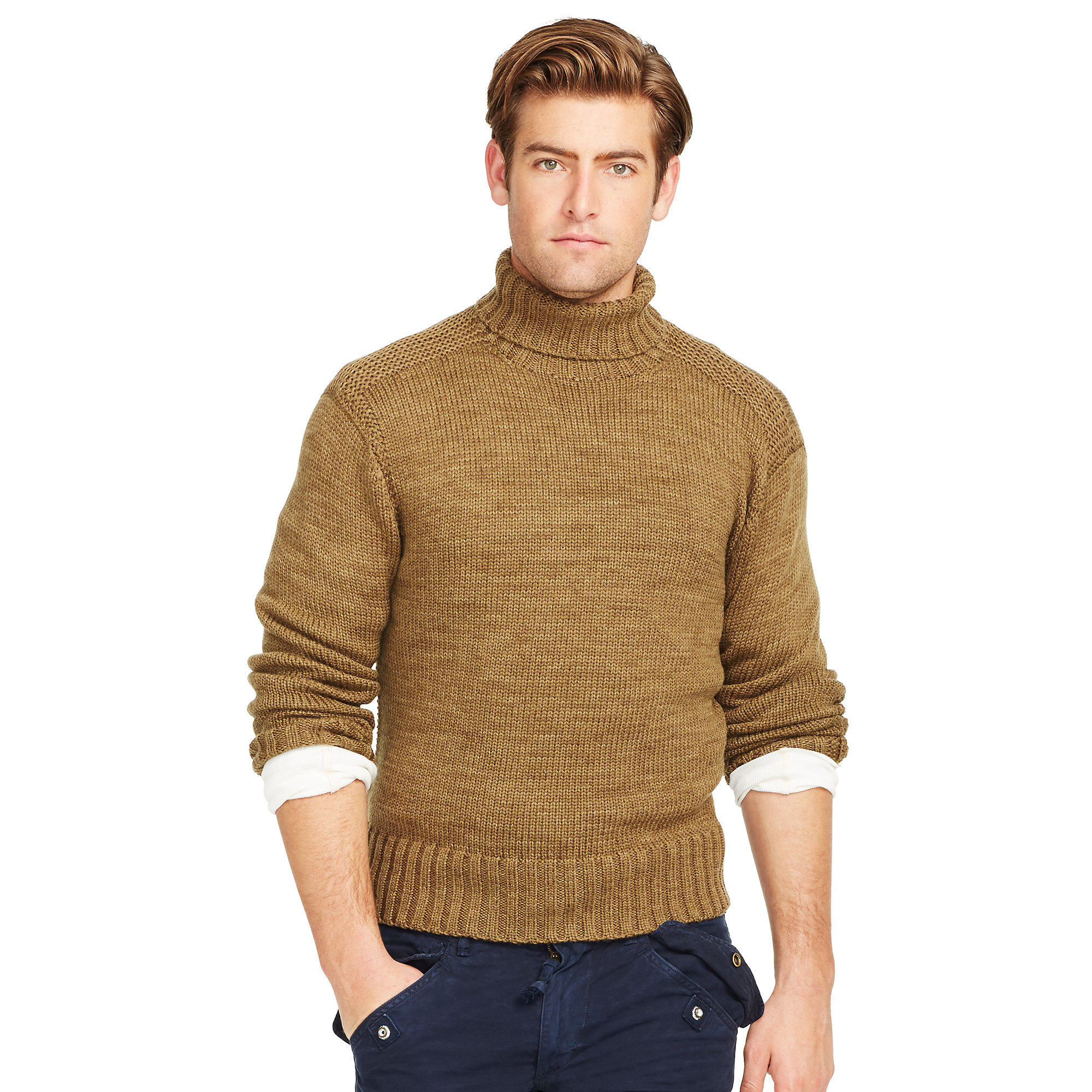 Polo ralph lauren Merino Wool Turtleneck Sweater in Brown for Men ...
