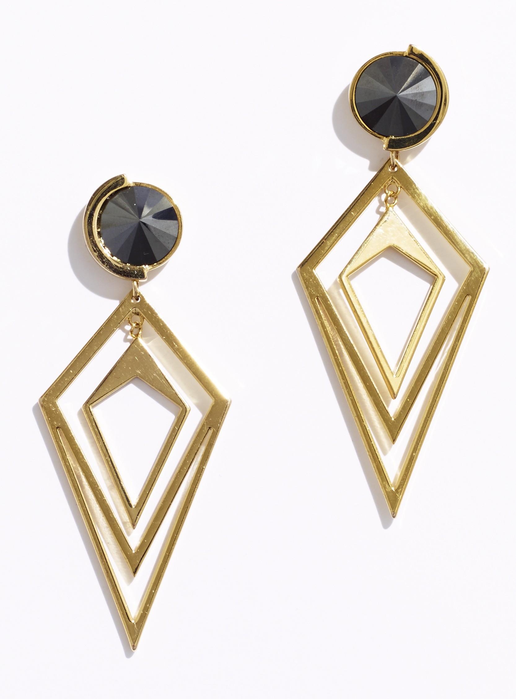 magid pointilist orbital earrings hematite in gold