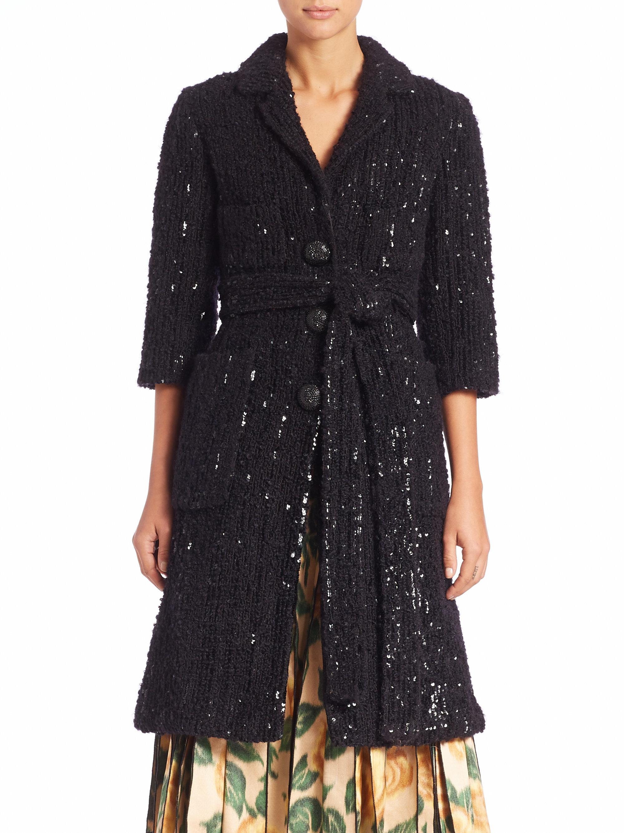 Lyst Marc Jacobs Sequined Tweed Coat In Black