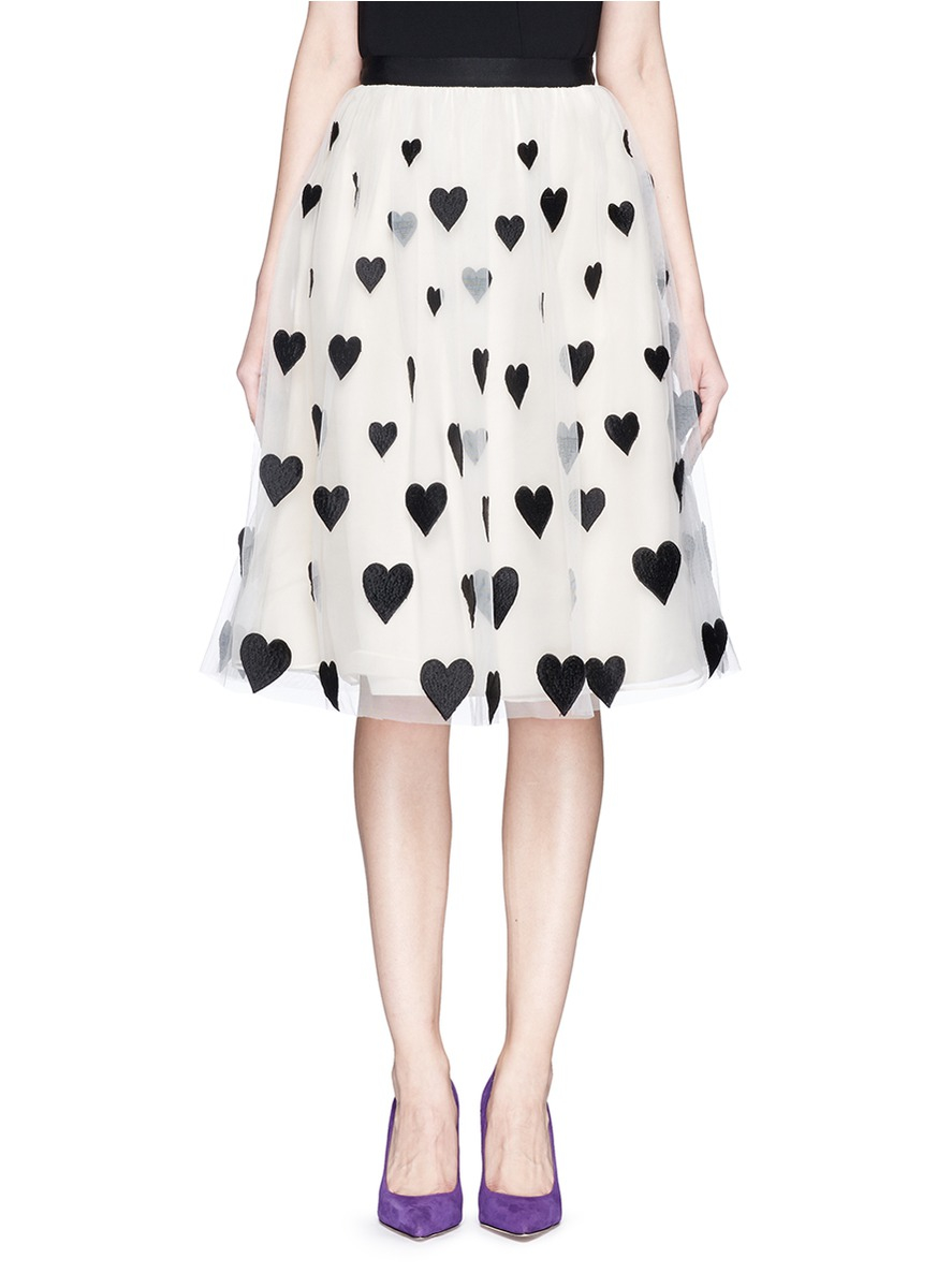a67bf93084 Alice + Olivia 'catrina' Heart Appliqué Tulle Midi Skirt - Lyst