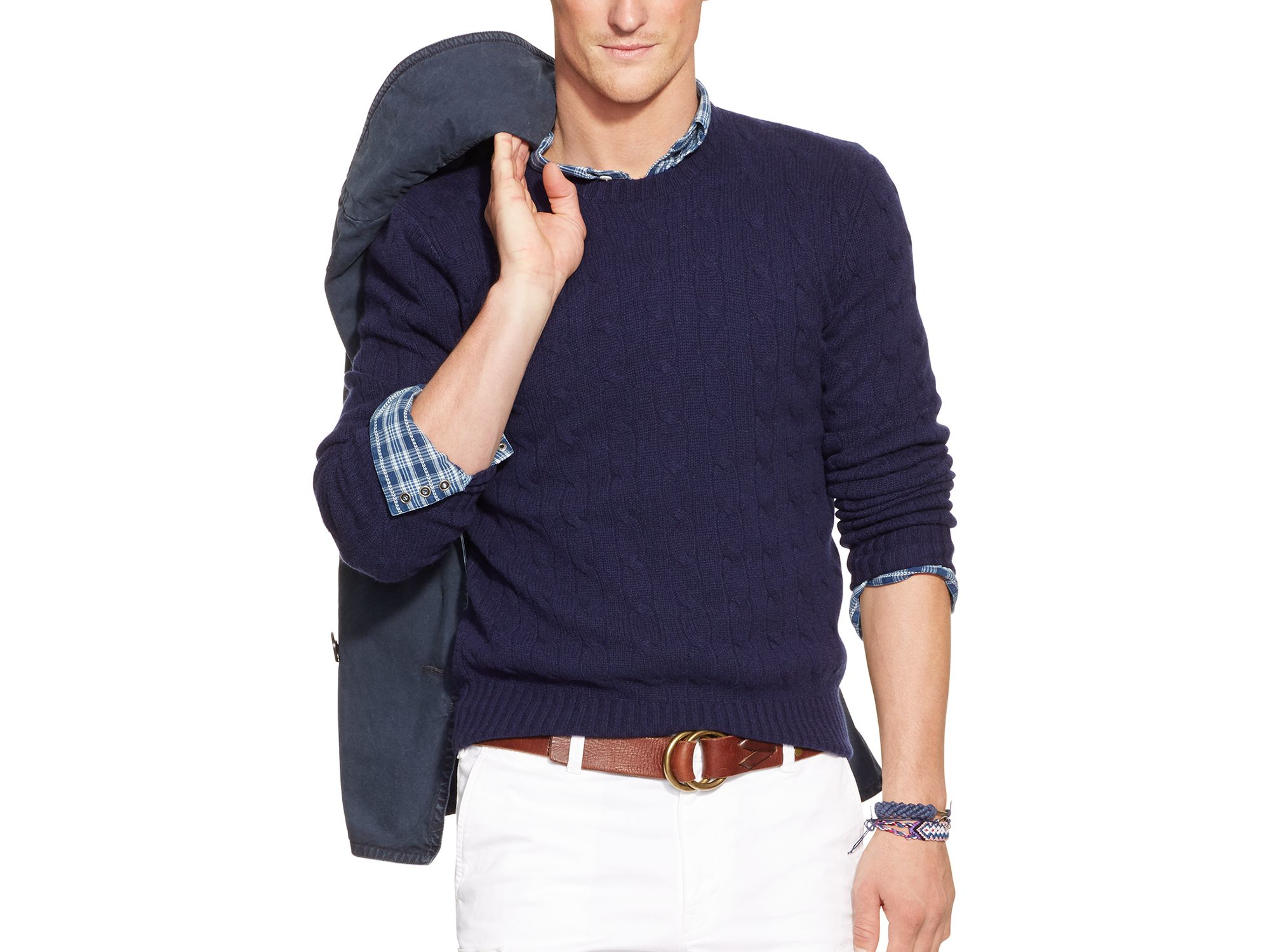 Ralph lauren Polo Cable Knit Cashmere Sweater in Blue for Men | Lyst