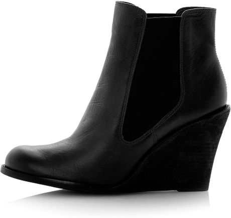 topshop peoney leather wedge chelsea boots in black lyst