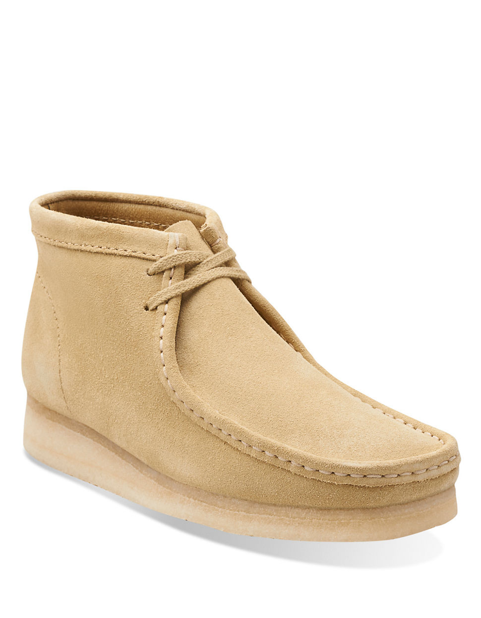 Clarks Wallabee Leather Chukka Boots in Natural for Men | Lyst