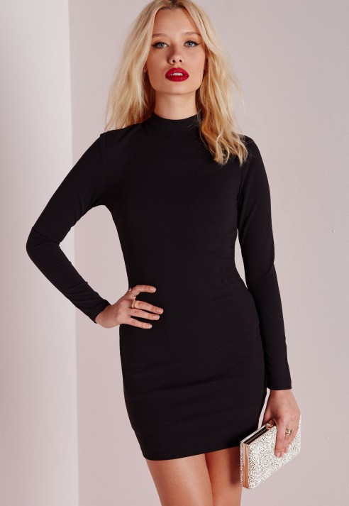 Missguided Crepe Long Sleeve Back Detail Bodycon Dress Black In