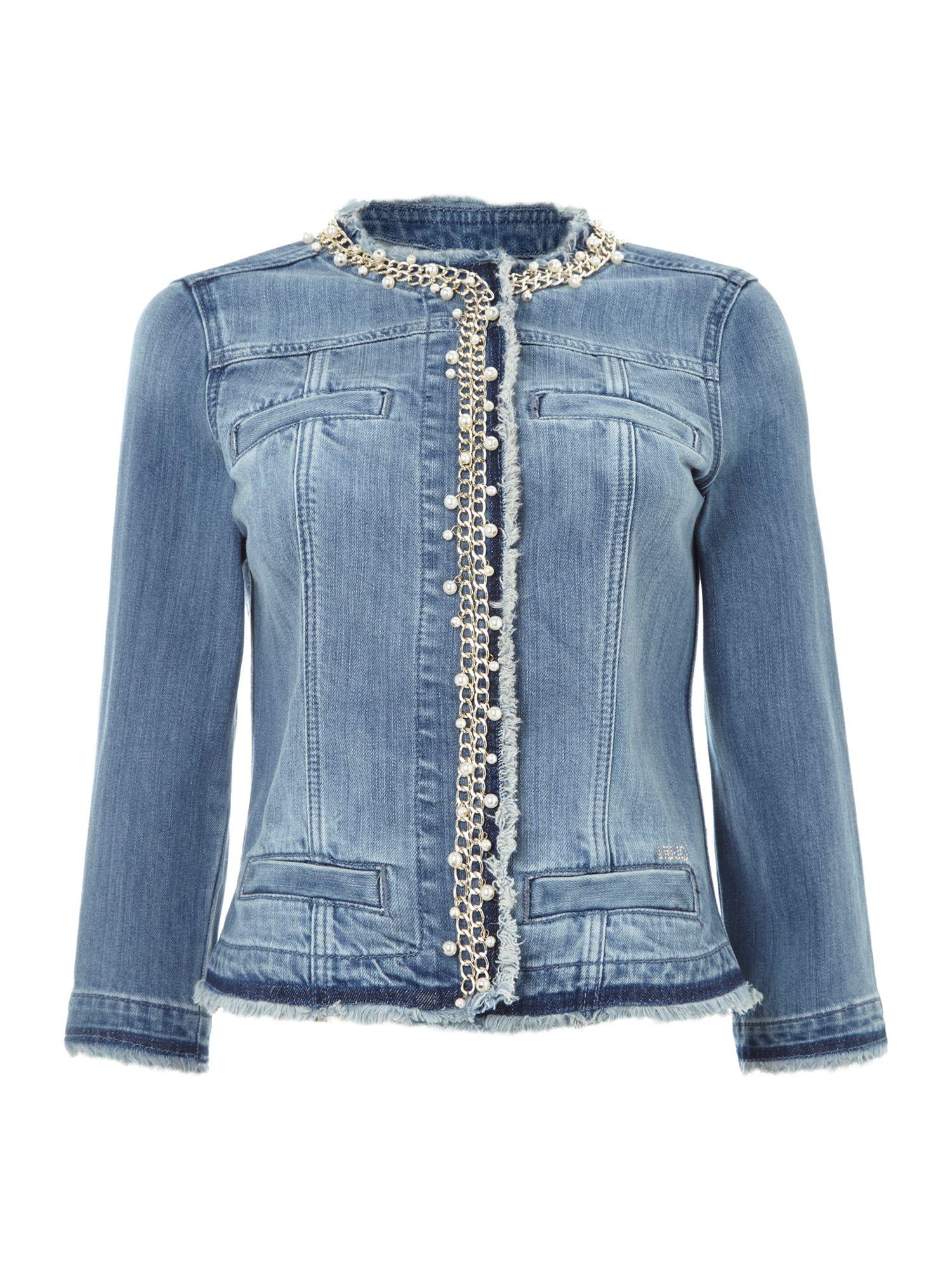 Liu Jo Pearl Chain Trim Denim Jacket In Blue Lyst