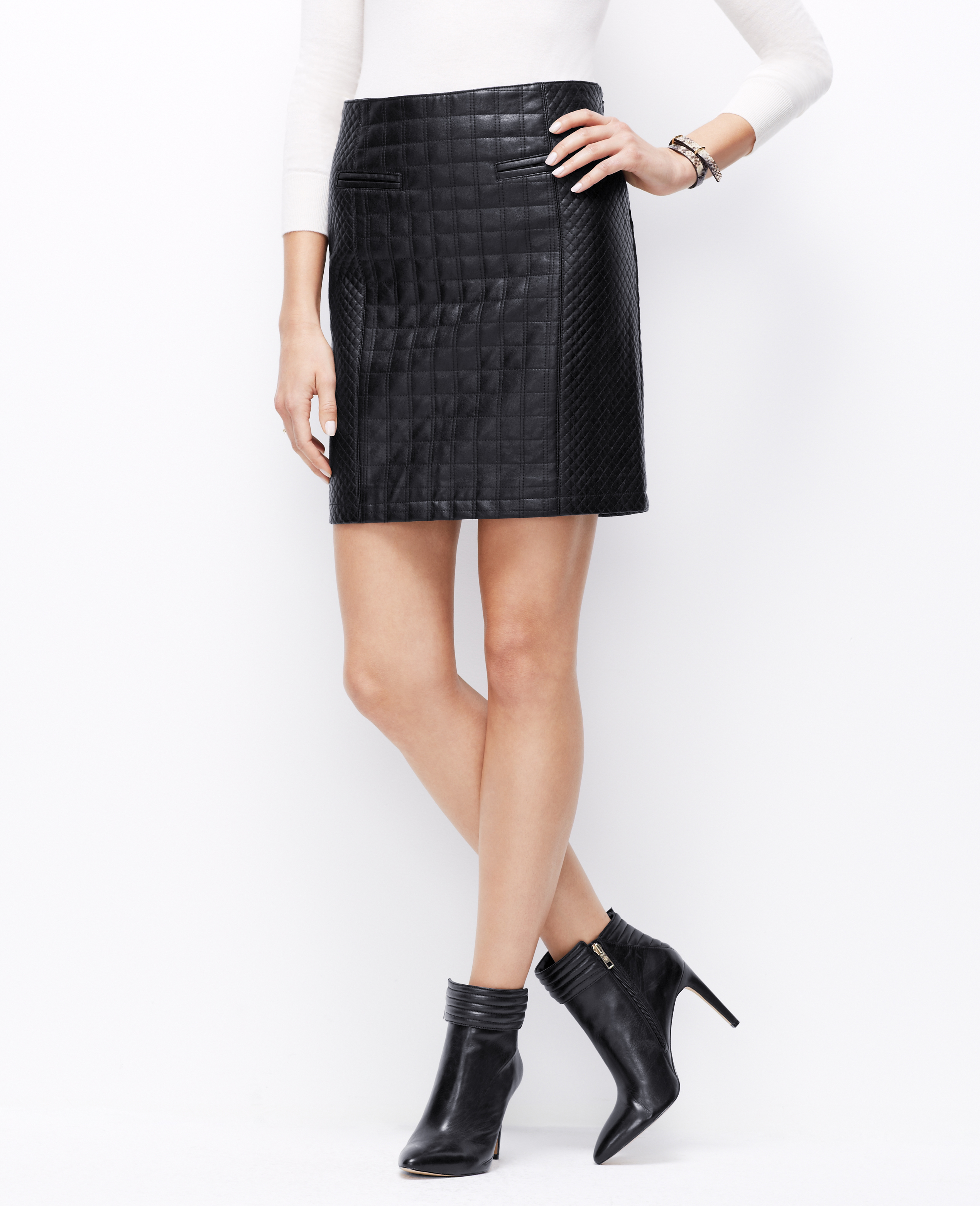 Ann taylor Quilted Faux Leather Skirt in Black | Lyst