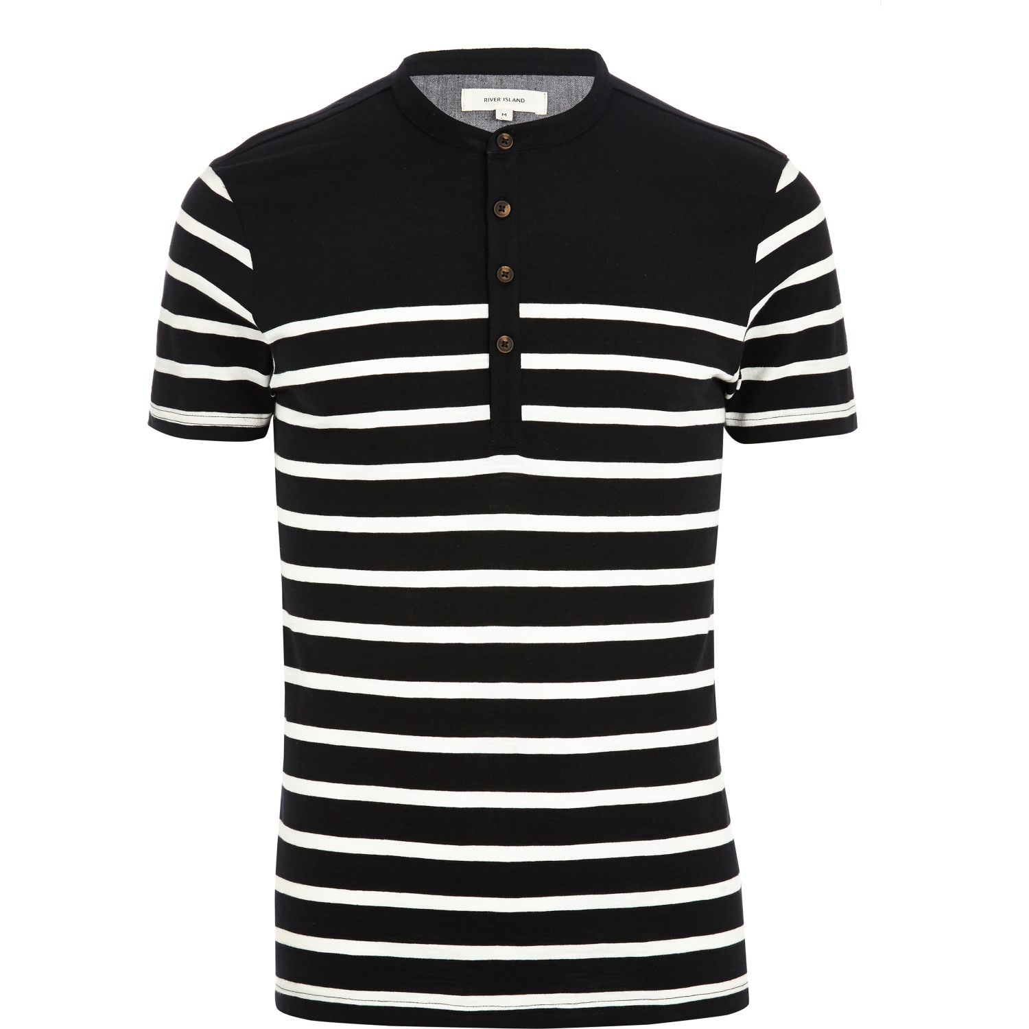 river island black breton stripe grandad t shirt in black. Black Bedroom Furniture Sets. Home Design Ideas