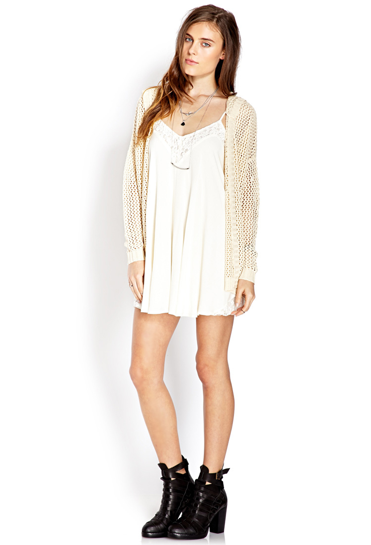 Forever 21 Easy Open-Knit Hooded Cardigan in Natural | Lyst