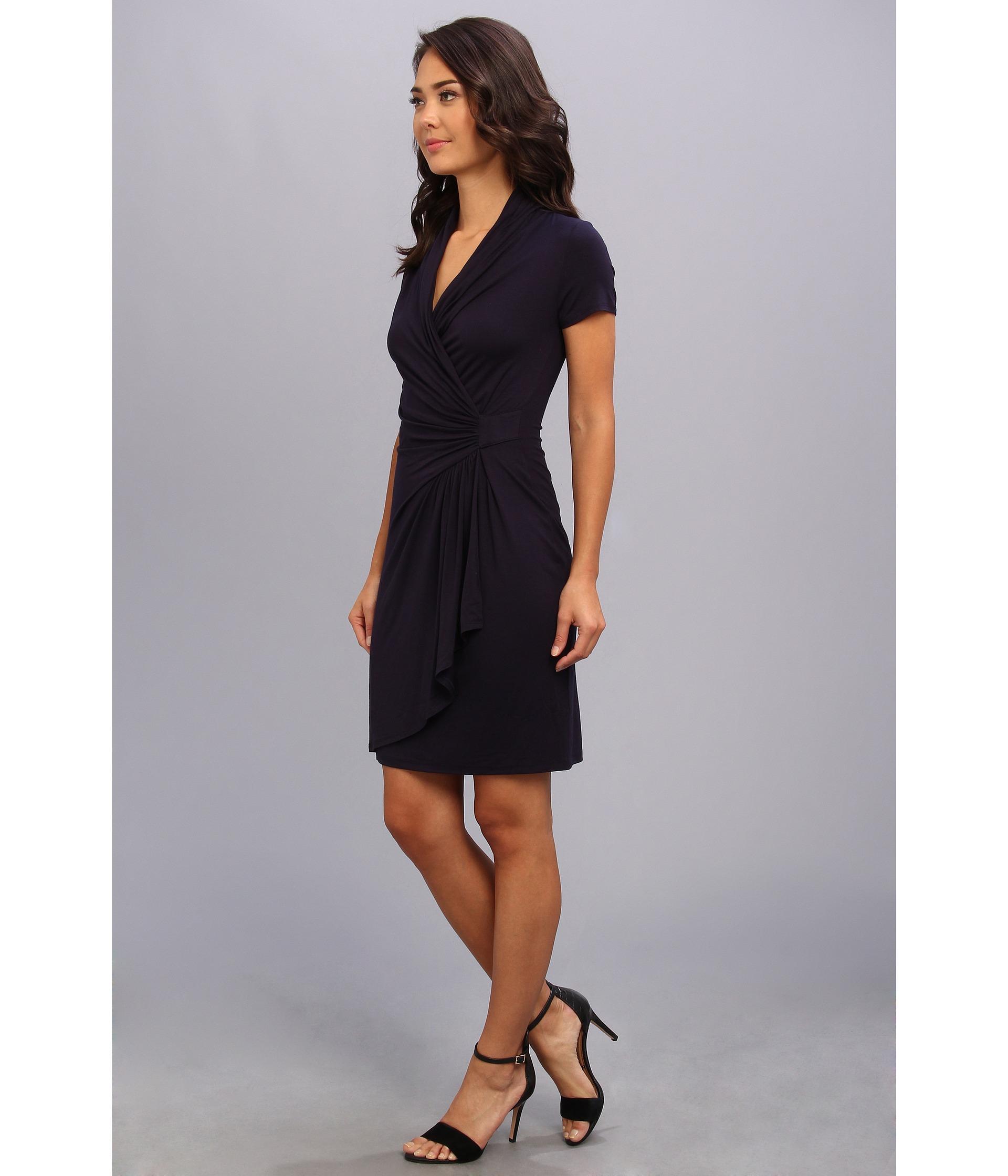 Karen kane Short Sleeve Cascade Wrap Dress in Blue | Lyst