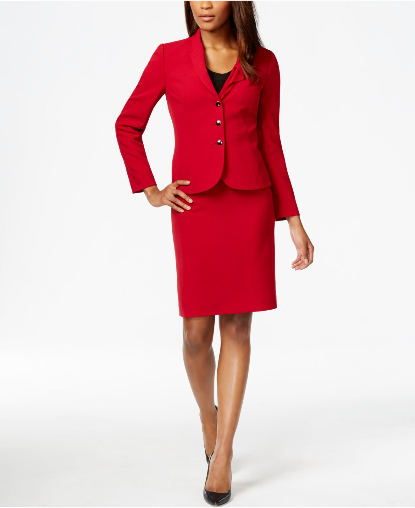 GMI GRed - Skirt Suit With Lace Trim Jacket & Double Bell Cuff Sleeves.