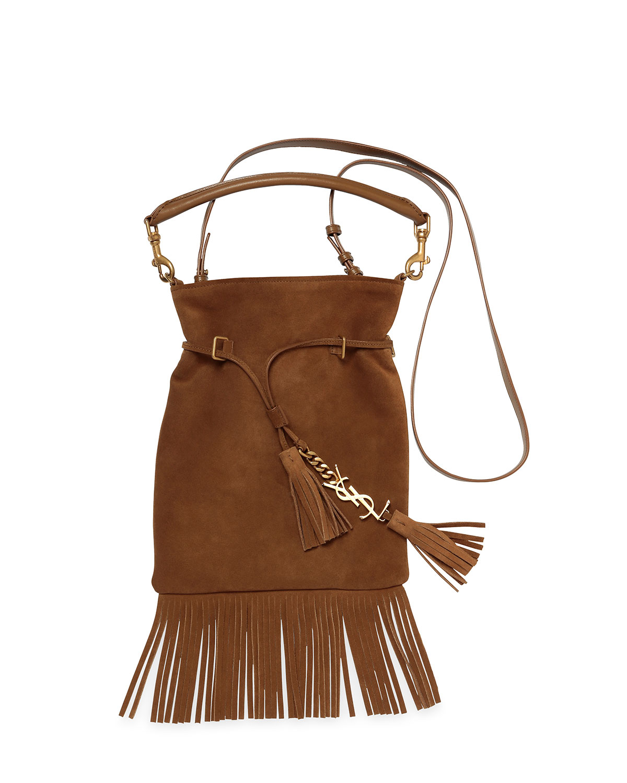 de4e92a80a8b Lyst - Saint Laurent Monogram Suede Tassel Fringe Bucket Bag in Brown