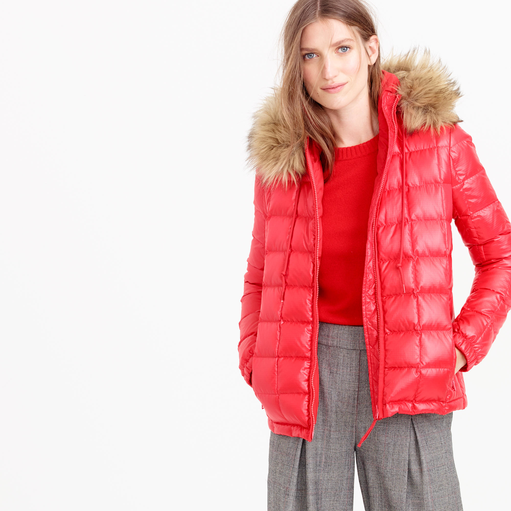 J Crew Short Quilted Puffer Jacket With Faux Fur Hood In