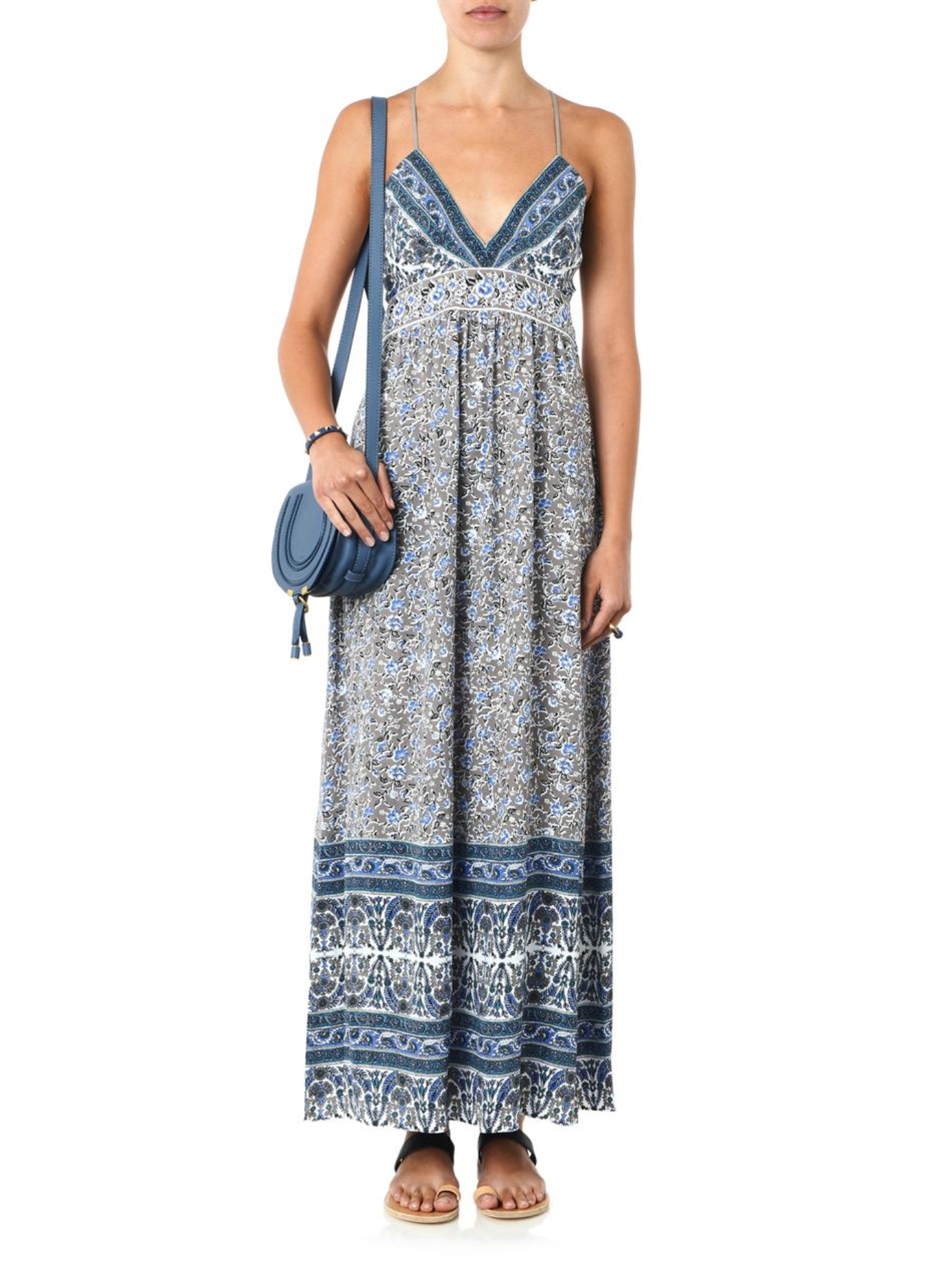 4500925e0f27 Lyst - Rebecca Taylor Indian Floral-print Maxi Dress in Gray