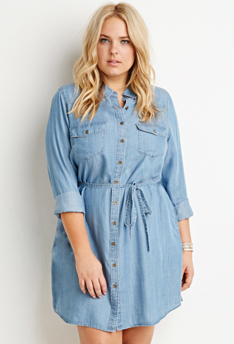 Forever 21 plus size belted chambray shirt dress you 39 ve for Chambray dress