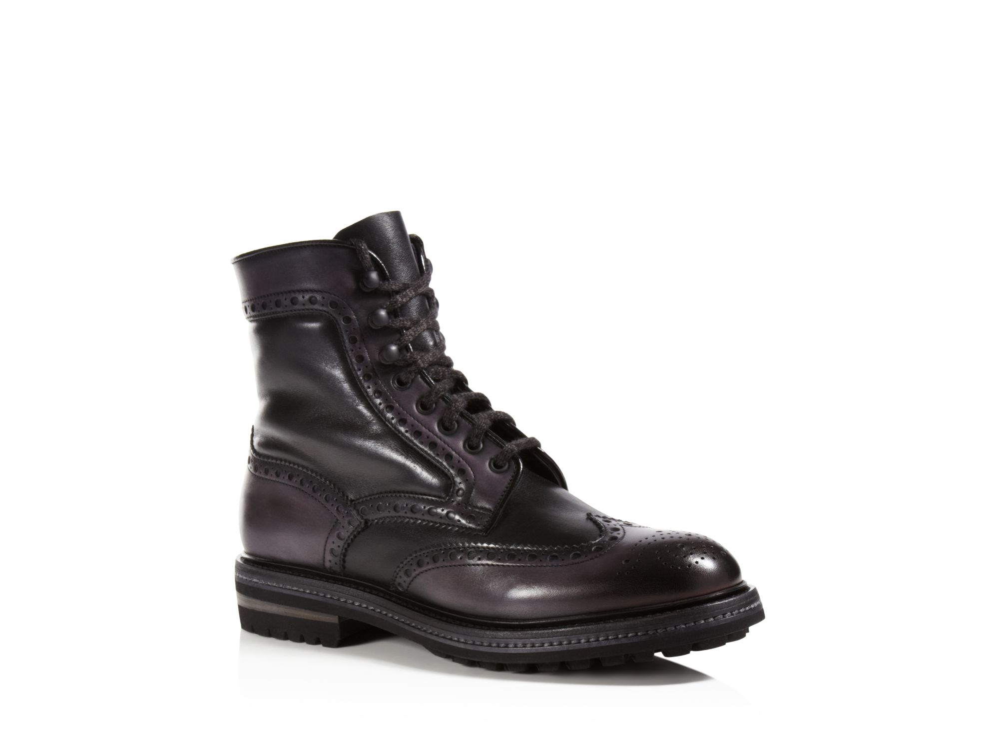 santoni wingtip boots in black for lyst