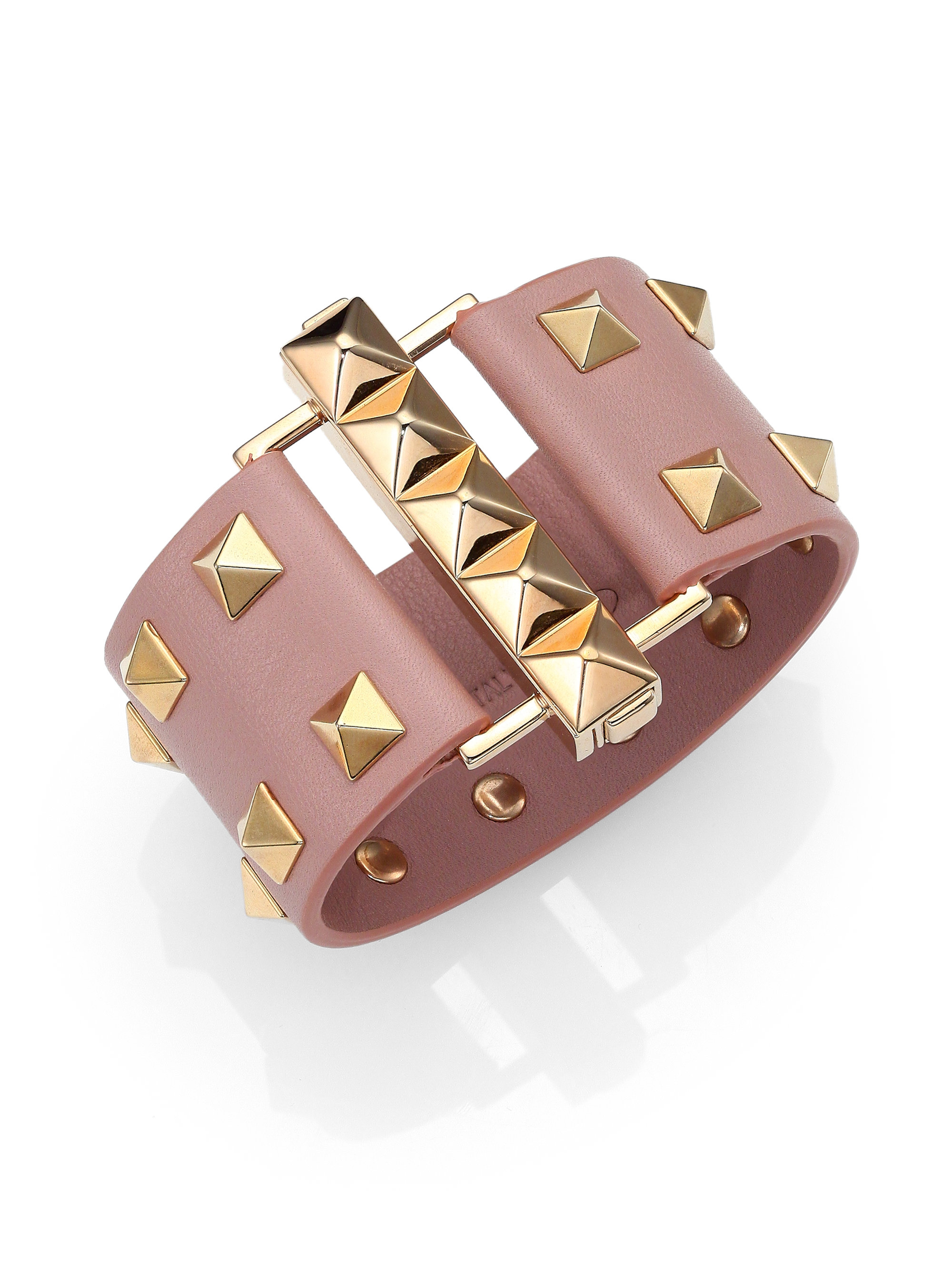 Valentino Rockstud wide leather band bracelet l192FMAs