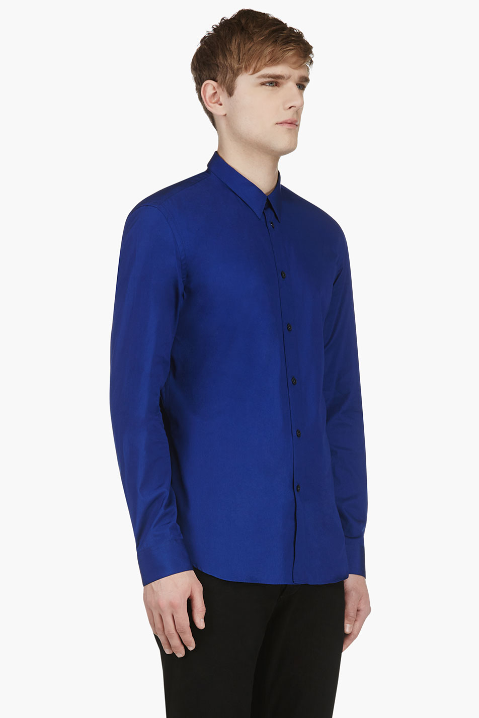 Calvin klein royal blue slim fit button down shirt in blue for Royals button up shirt