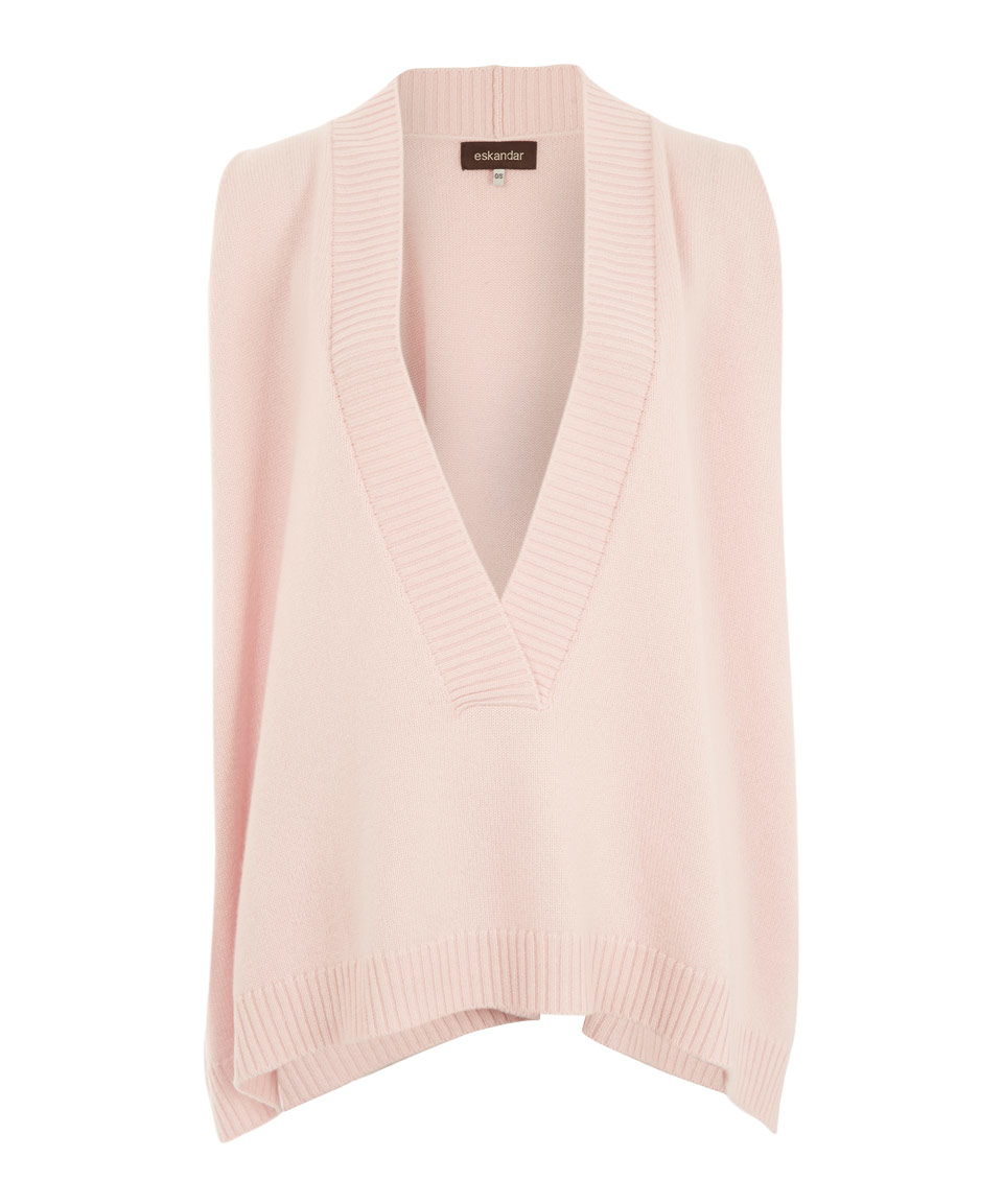d07e775f2 Lyst - Eskandar Light Pink A-line Sleeveless V-neck Cashmere Knit ...