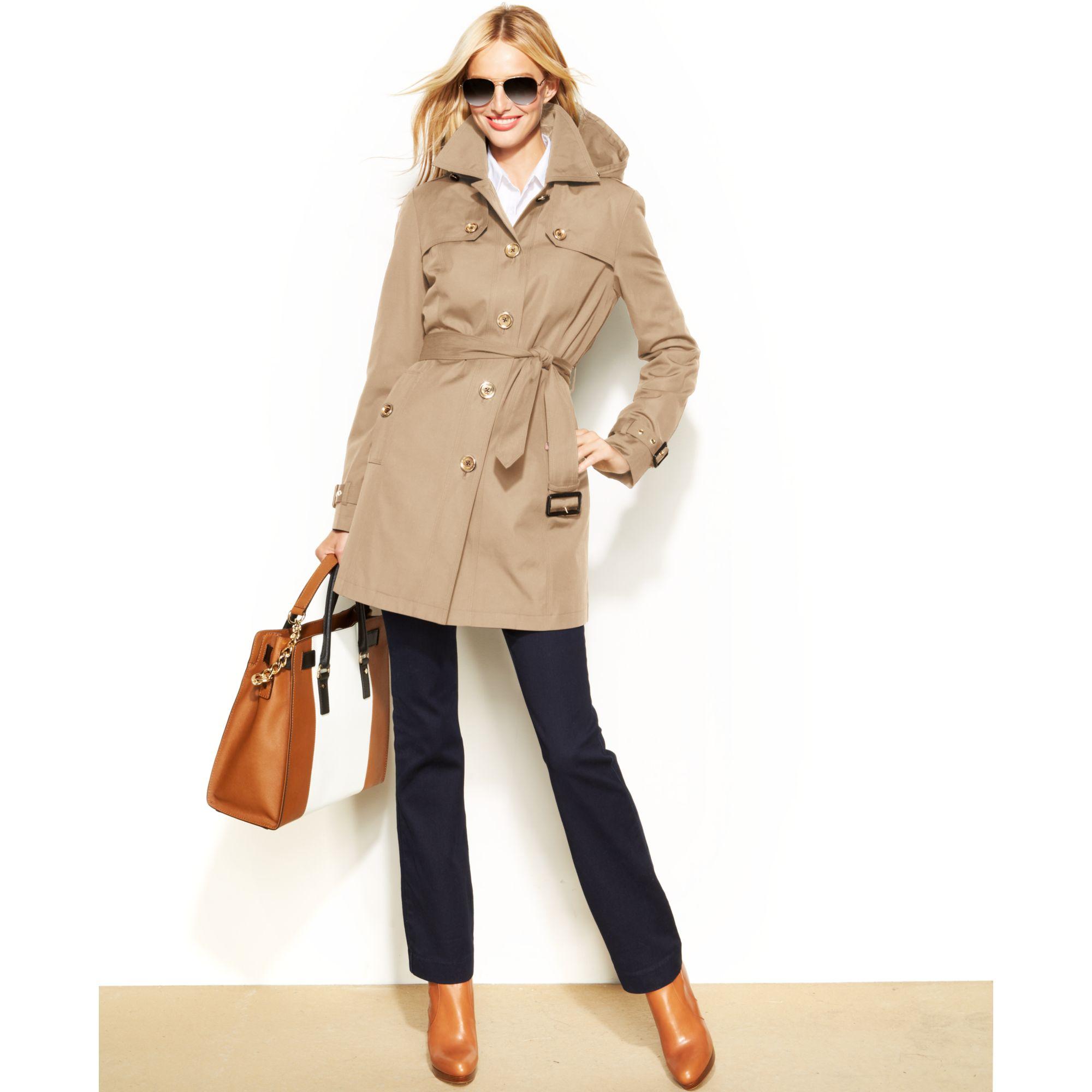 9f27cb3e36ac Michael Kors Women S Belted Hooded Trench Coat - The Best Belt Produck