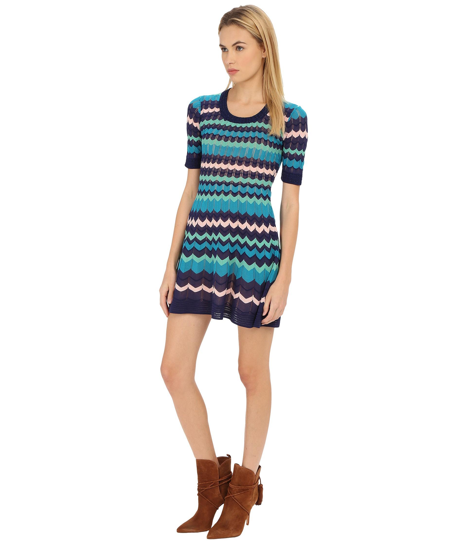 759517432b Lyst - M Missoni Color Block 3 4 Sleeve Dress in Blue