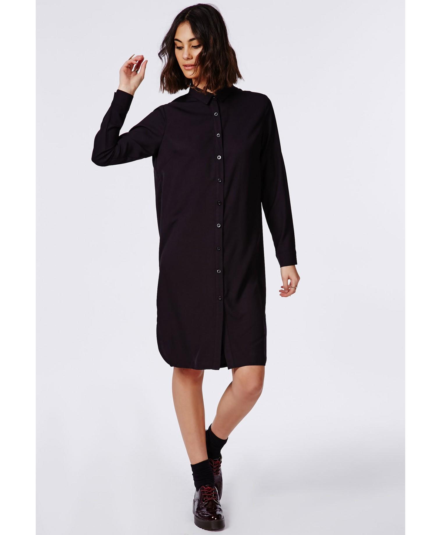 Missguided floaty midi shirt dress black in black lyst for Midi shirt dress black