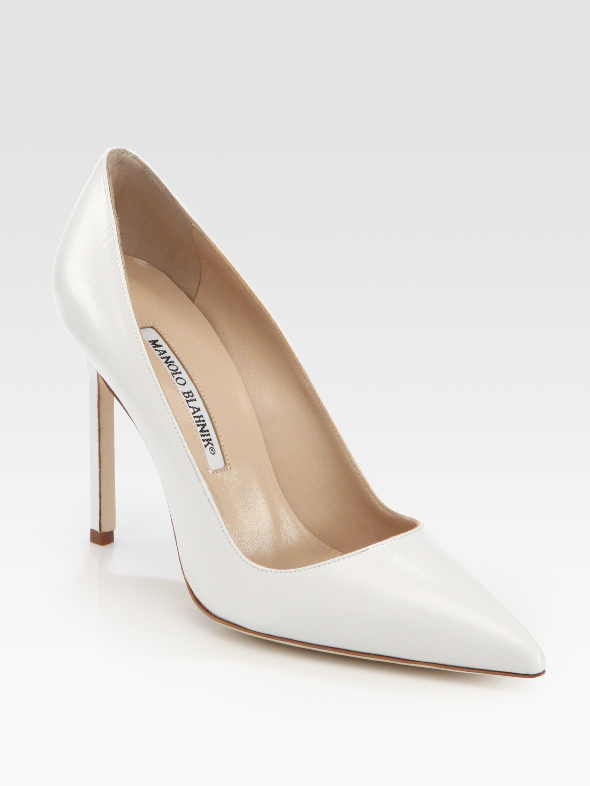 Lyst manolo blahnik bb 105 leather point toe pumps in white for Shoes by manolo blahnik