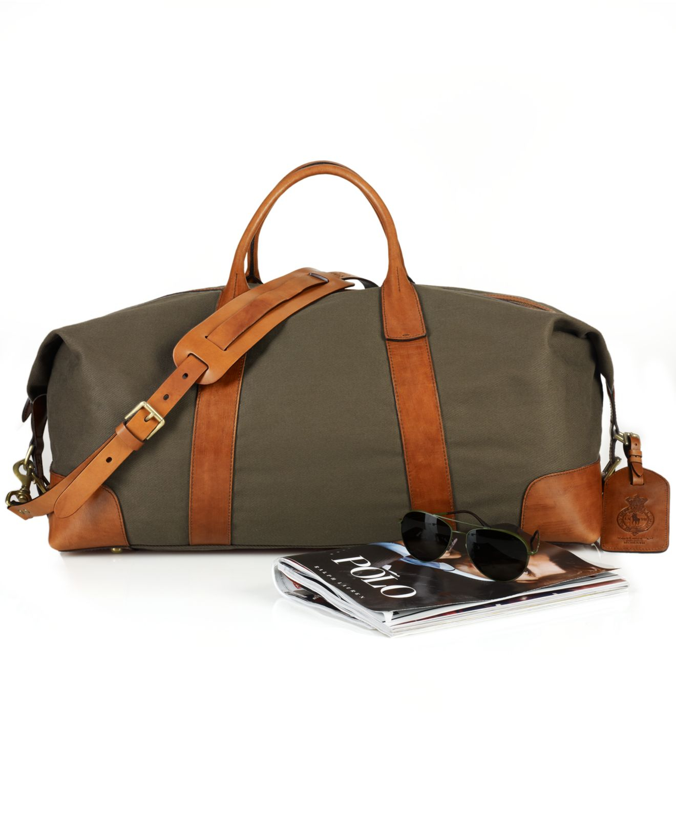 Lyst - Polo Ralph Lauren Canvas   Leather Duffel Bag in Green for Men 94c8d4ef03204