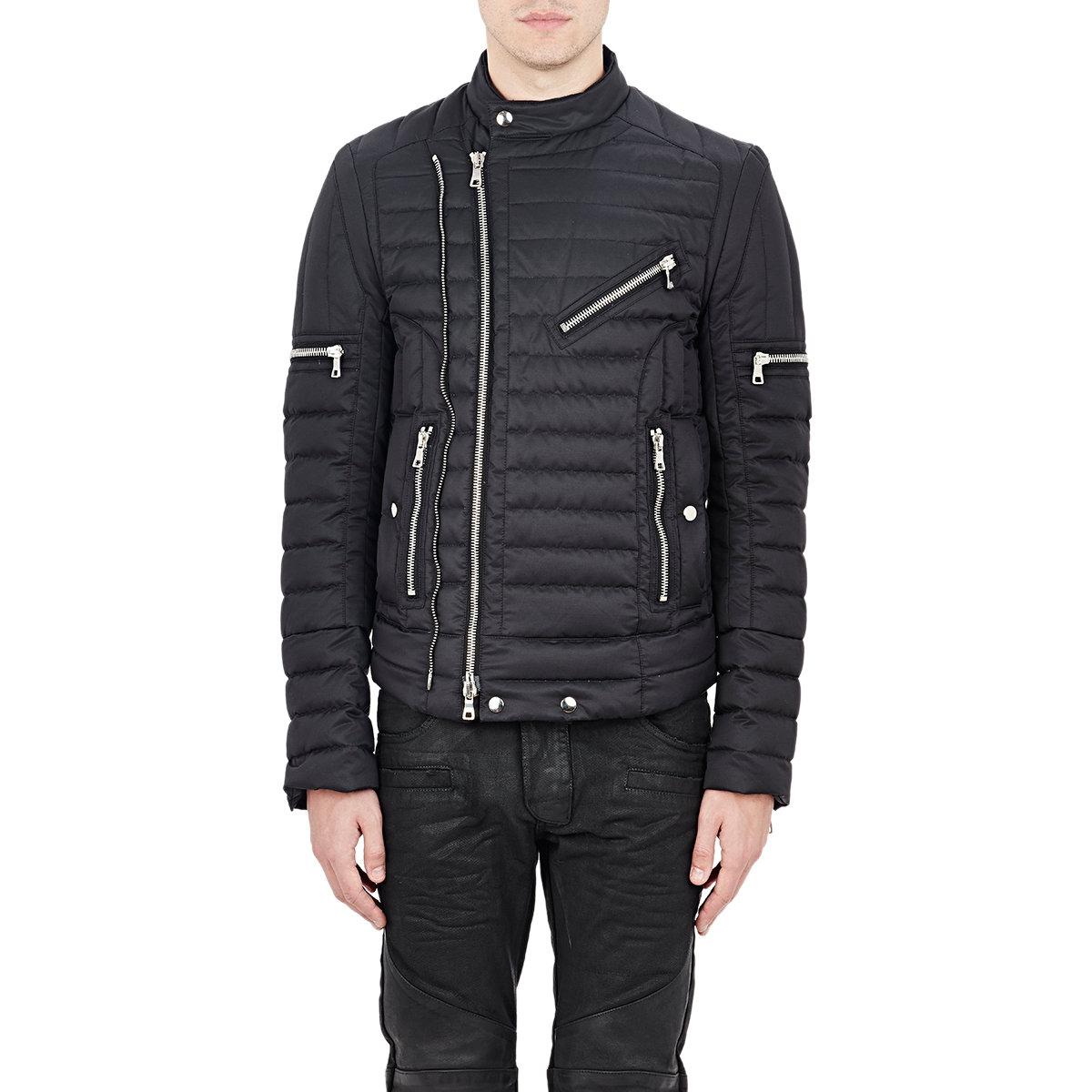 Balmain Multi Zip Moto Puffer Jacket In Black For Men Lyst