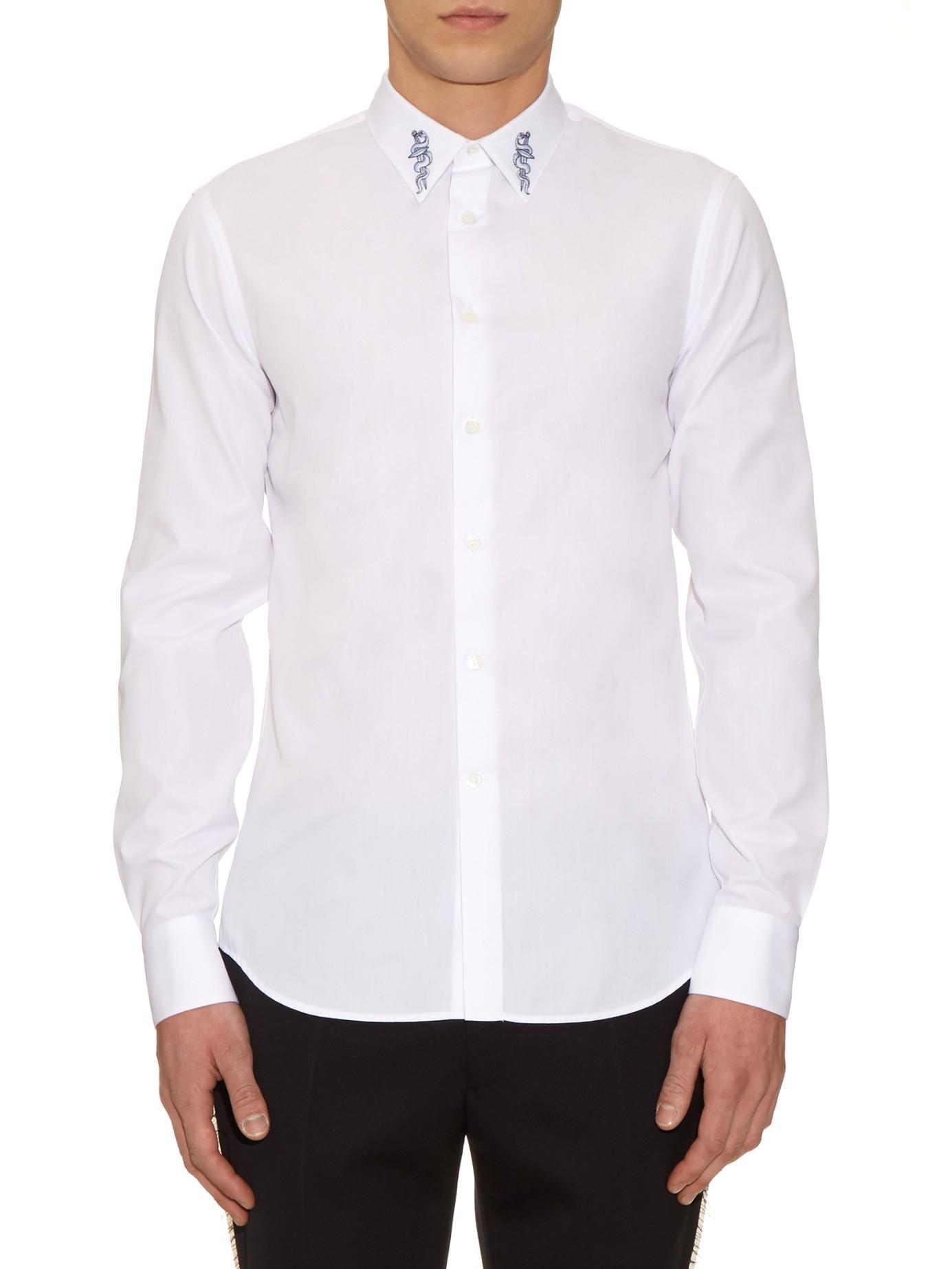 Lyst Alexander Mcqueen Embroidered Collar Cotton Shirt In White