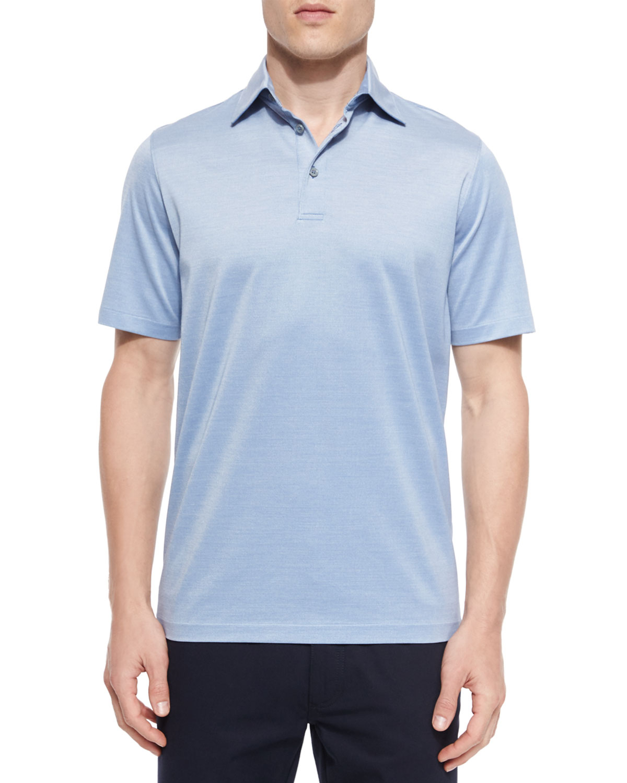 Ermenegildo Zegna Cotton Silk Polo Shirt In Blue For Men