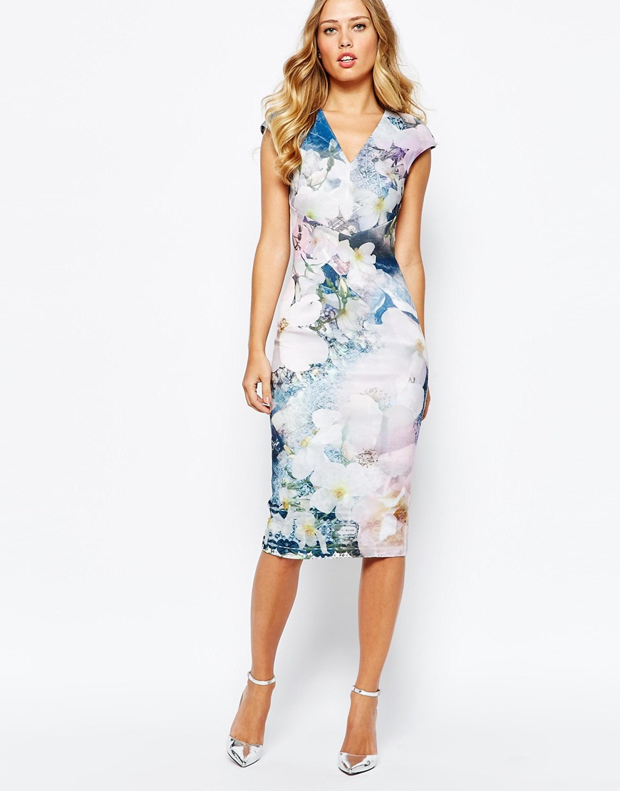 497885e1a0c49 ... Lyst - Ted Baker Amily Floral Geo Bodycon Dress in Blue get new 8148f  f7971  Home Ted Baker Deony Bodycon Dress in Tapestry Floral Print. ...