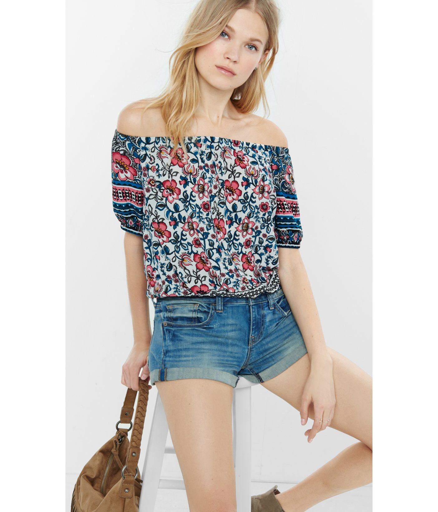 b3ca6d81e37ae Lyst - Express Mixed Floral Print Off The Shoulder Blouse in Brown