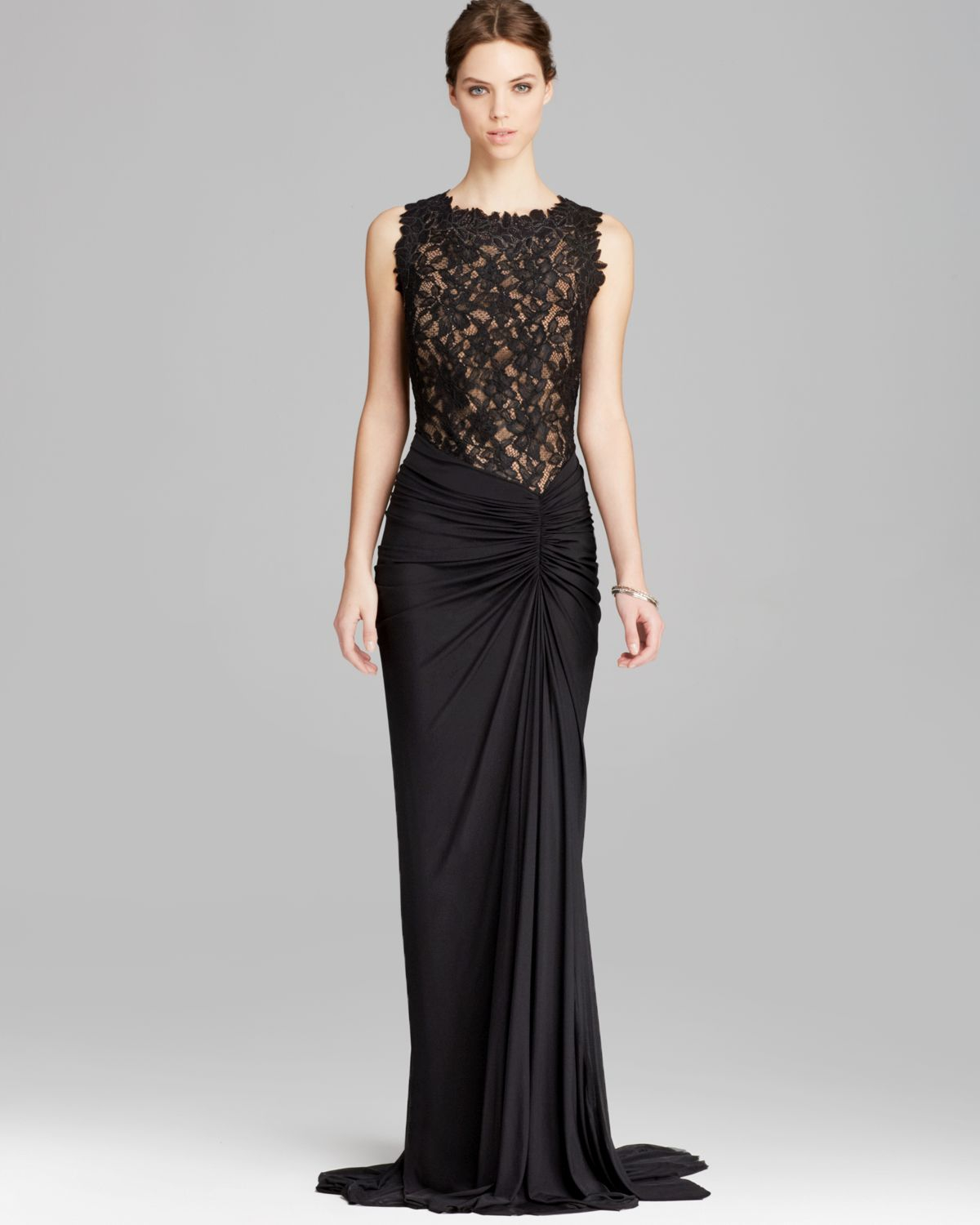 Lyst - Tadashi Shoji Gown - Sleeveless Lace Ruched Tulle in Black