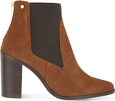 kurt geiger dellow heeled suede chelsea boots in brown lyst